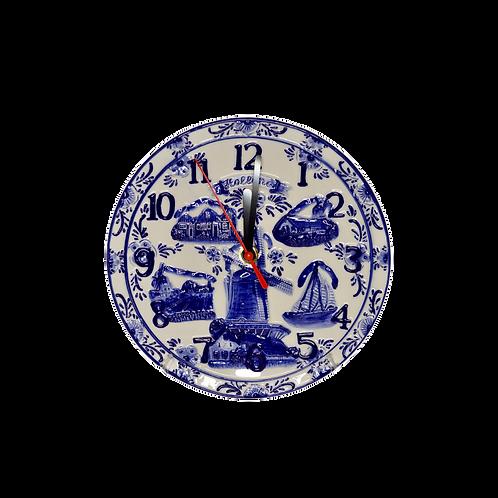 Delfts Blauw Embossed Klok   20 cm