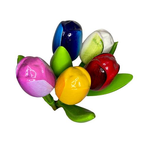 Grote Houten Tulpen Boeket | Paars, Roze, Geel, Wit & Rood