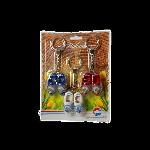Klompen Sleutelhangers | Set van 3 stuks | Blauw, Wit & Rood