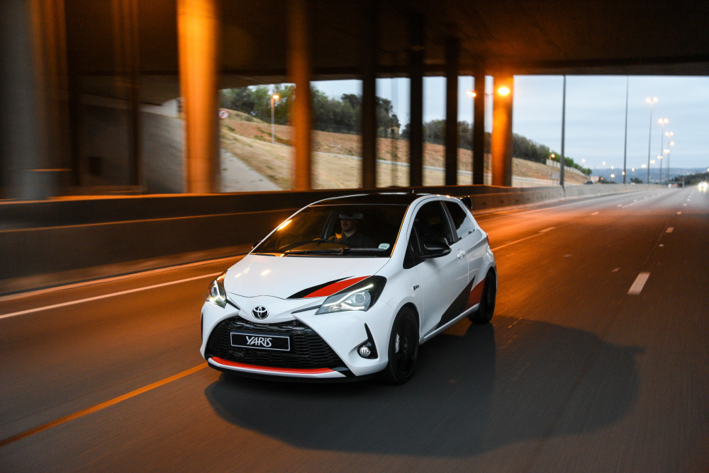 The Toyota Yaris Gazoo sitting comfortably on the high way