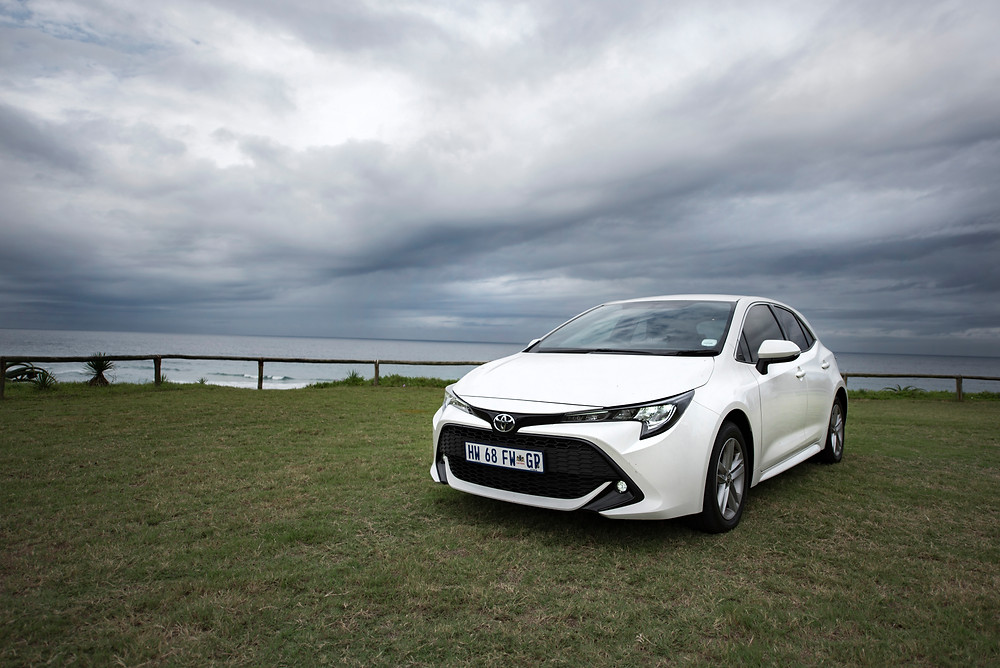 Toyota Corolla Hatch with sea and sky background