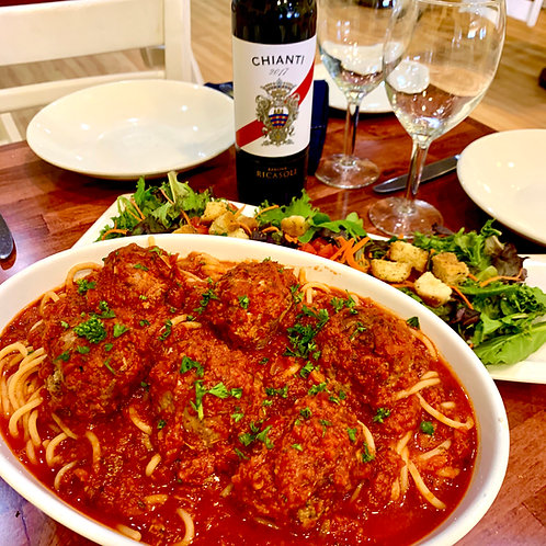 Family Meal for 4 or 6: Spaghetti & Meatballs