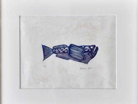 Stargazer Fish Lino Print