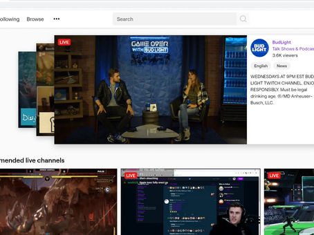 Ape Prime Esports Front Page of Twitch