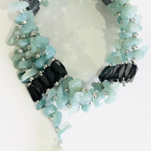 Crystal Chip Magnetic Wrap Bracelet AMAZONITE