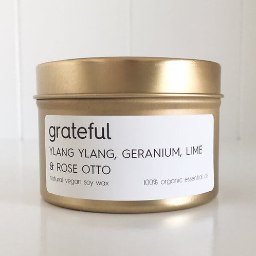 GRATEFUL TRAVEL TIN SOY CANDLE – 100% ORGANIC ESSENTIAL OIL SCENT OF YLANG YLANG