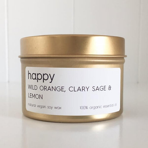 HAPPY TRAVEL TIN SOY CANDLE – 100% ORGANIC ESSENTIAL OIL SCENT OF WILD ORANGE, C