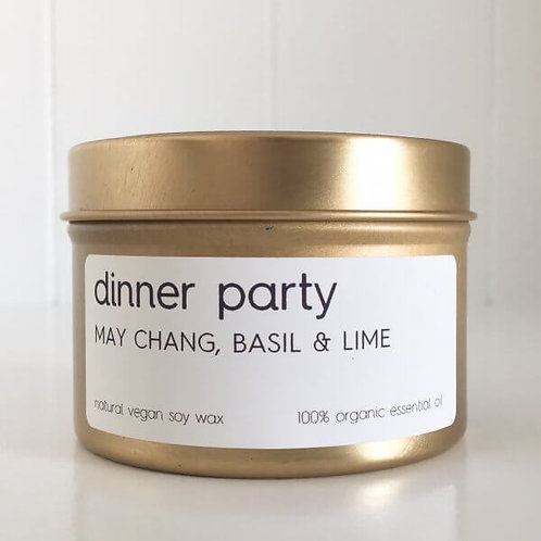 DINNER PARTY TRAVEL TIN SOY CANDLE – 100% ORGANIC ESSENTIAL OIL SCENT OF MAY CHA
