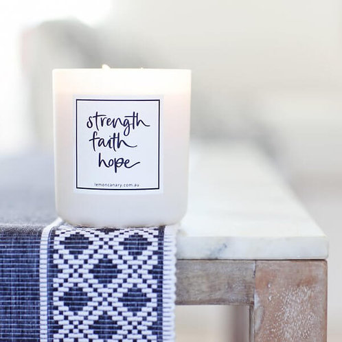 WHITE 'STRENGTH, FAITH, HOPE' SOY CANDLE – FINCH VINTAGE GARDENIA