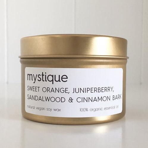 MYSTIQUE TRAVEL TIN SOY CANDLE – sweet orange, juniperberry,sandalwood & cinnamo