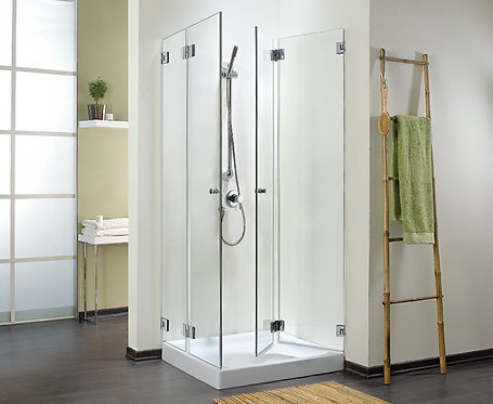 """מקלחון פינתי 8 מ""""מ דלתות מתקפלות"""