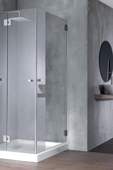 """מקלחון פינתי (אורי+אגם)  8 מ""""מ קבוע ודלת+דלת"""