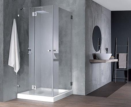 """מקלחון פינתי 8 מ""""מ קבוע ודלת+דלת"""