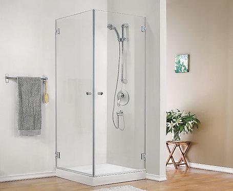 """מקלחון פינתי 8 מ""""מ 2 דלתות"""
