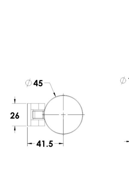 """ציר קיר-זכוכית למקלחון הרמוניקה  6 מ""""מ"""