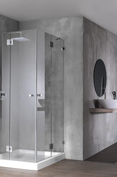"""מקלחון פינתי (אורי)  8 מ""""מ 2 קבועים ו2 דלתות"""