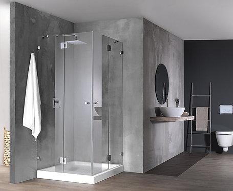 """מקלחון פינתי 8 מ""""מ 2 קבועים ו2 דלתות"""