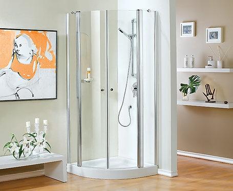 מקלחון מעוגל 2 קבועים 2 דלתות