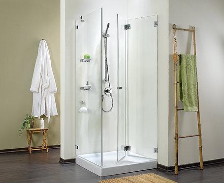 """מקלחון פינתי 8 מ""""מ דלת מתקפלת וקבוע"""