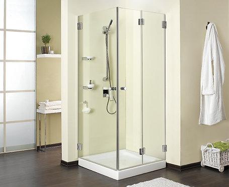 """מקלחון פינתי 8 מ""""מ דלת מתקפלת ודלת"""