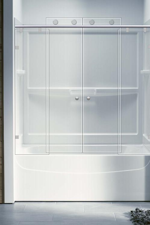 אמבטיון הזזה 2 קבועים 2 דלתות - בייצור