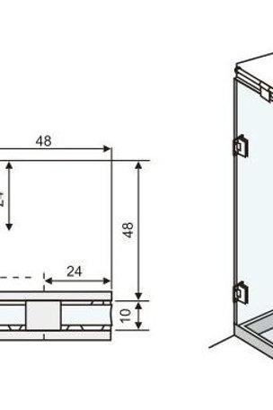 """זווית קיר-זכוכית 90 מעלות למקלחון 8 מ""""מ"""