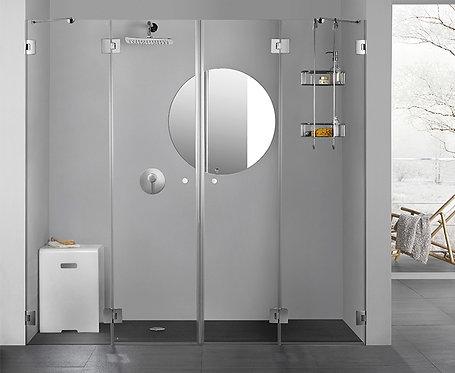 """מקלחון חזית (אורי)  8 מ""""מ 2 קבועים 2 דלתות"""