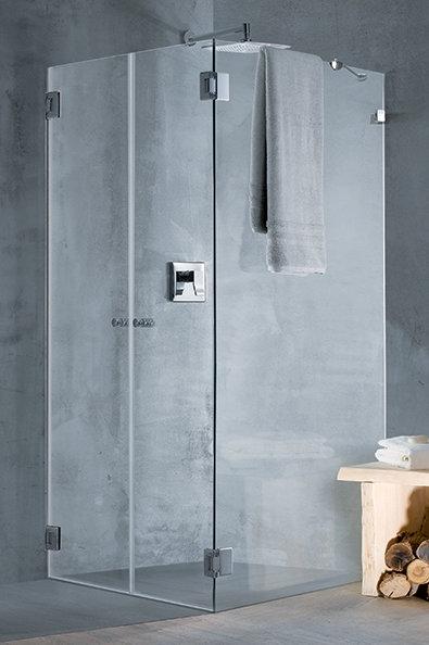 """מקלחון פינתי (עילי)  8 מ""""מ 2 דלתות וקבוע"""