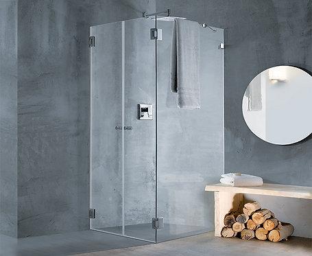 """מקלחון פינתי 8 מ""""מ 2 דלתות וקבוע"""