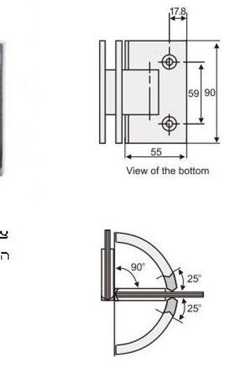 """ציר זכוכית -זכוכית 90 מעלות למקלחון 8 מ""""מ"""