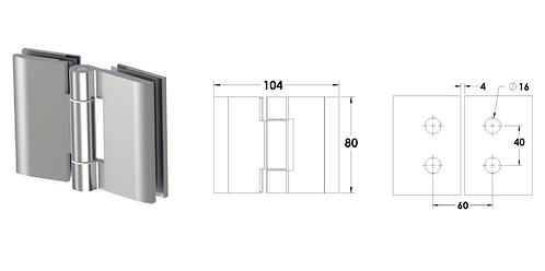 ציר זכוכית-זכוכית למקלחון הרמוניקה