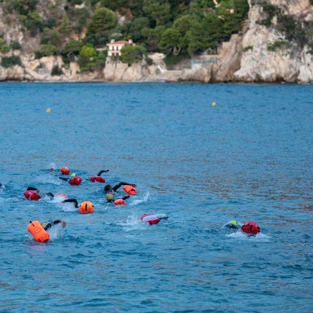 Natation en mer en groupe