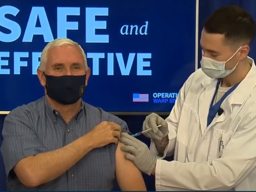 Vice President Pence receives an injection of the COVID-19 vaccine