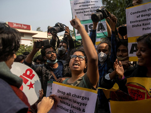 Students in Delhi protest against the arrest of environmentalists