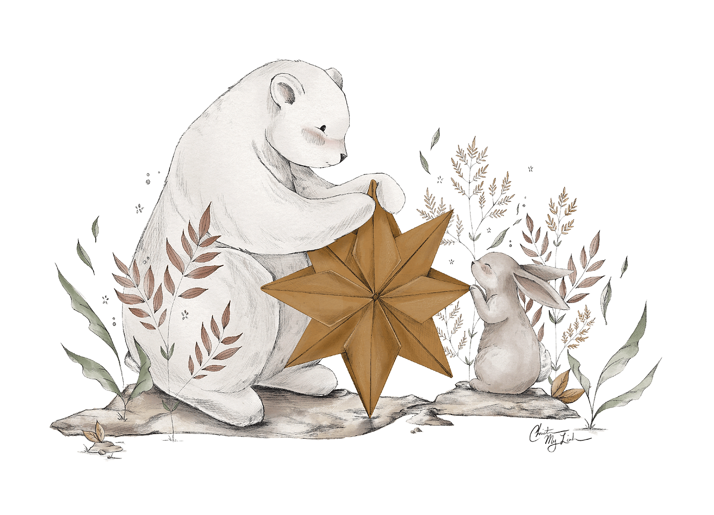Bunny, Bear, and Origami Star by Christine My Linh