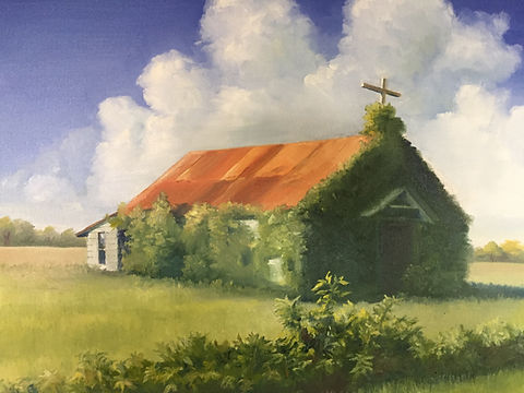 Abandoned Church-Muldoon, TX 18 X 24 (Oil) - Private Collection