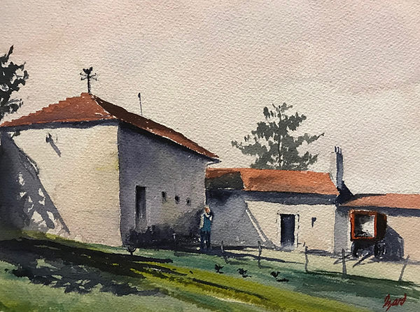 """Slovakian Farm"" Aquarelle (9 x 12)"