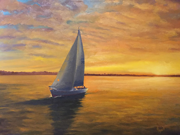 """Sunset Sail"" OIL (18 x 24)- Private Collection"