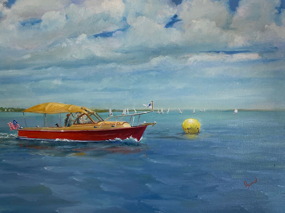 """Patrol Boat (Junior Olympics Sailing 2019)"" OIL (18 x 24)"