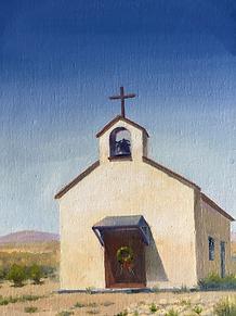 """Christmas at the Calera Chapel"" OIL 9 X 12"
