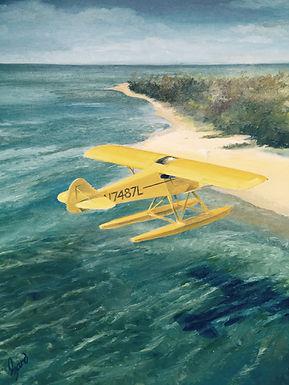 """""""Cub on Floats"""" (Bahamas) OIL 16 X 20"""
