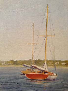 """A-Cats on the Toms River""  9 X 12 Oil (private collection)"