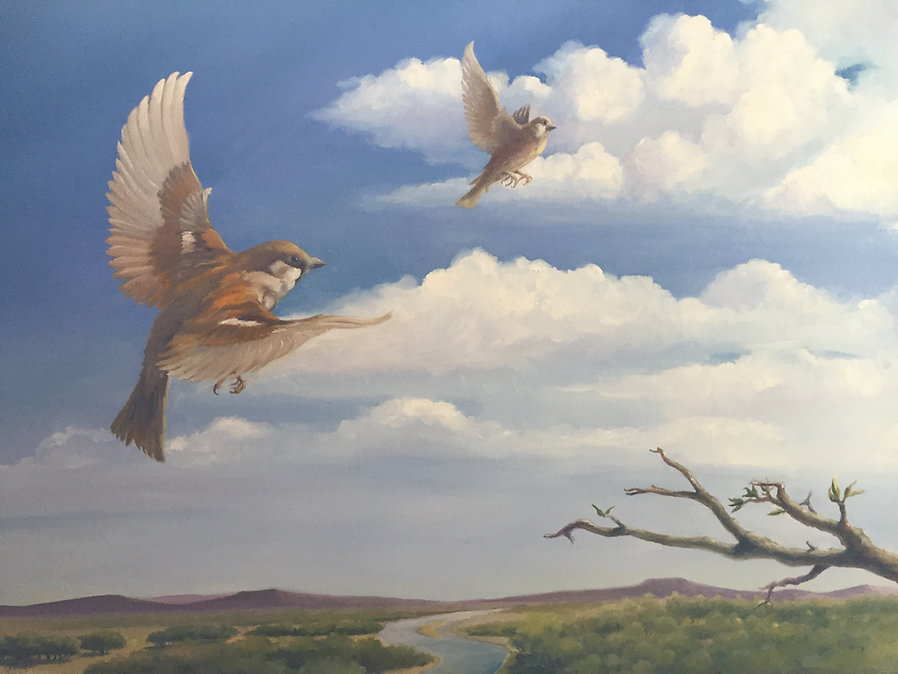 Sparrow House (Matthew 10:29) Oil 30X40