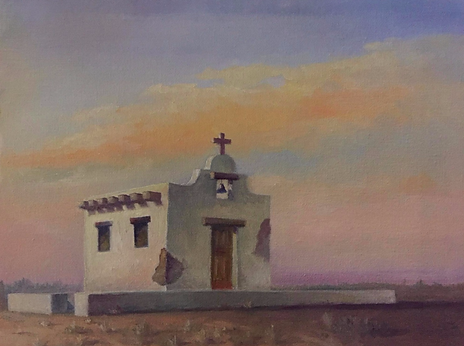 """The Tiny Chapel-Marfa, TX"" 9 x 12 (Oil)"
