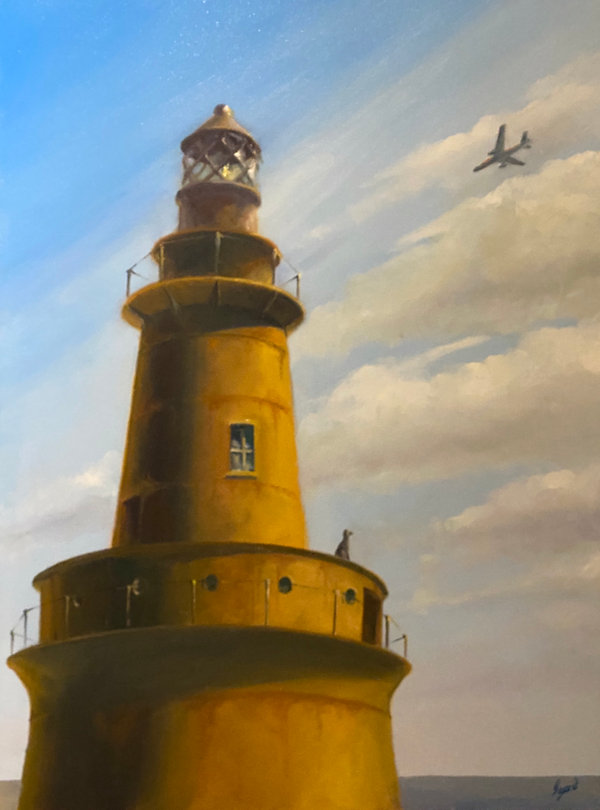 """Light house at Sabine, TX"" OIL (18 x 24)"