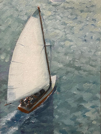 """A-Cat on Barnegat Bay"" OIL (9x12)"