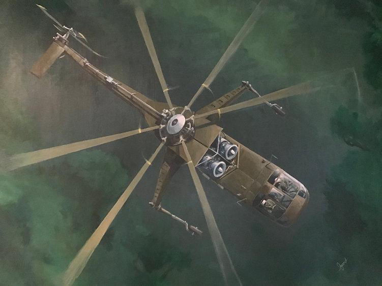 """Sikorsky Sky Crane in 'Nam"" ACRYLIC (30 x 40)"
