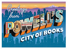 Greeting from Powell's Books postcard, pen and ink, digital
