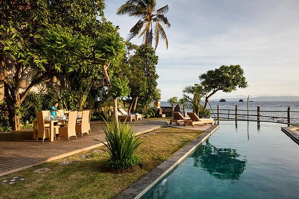 Villa Cocoa Maya, Candidasa, Bali, poolside dining whenever you like
