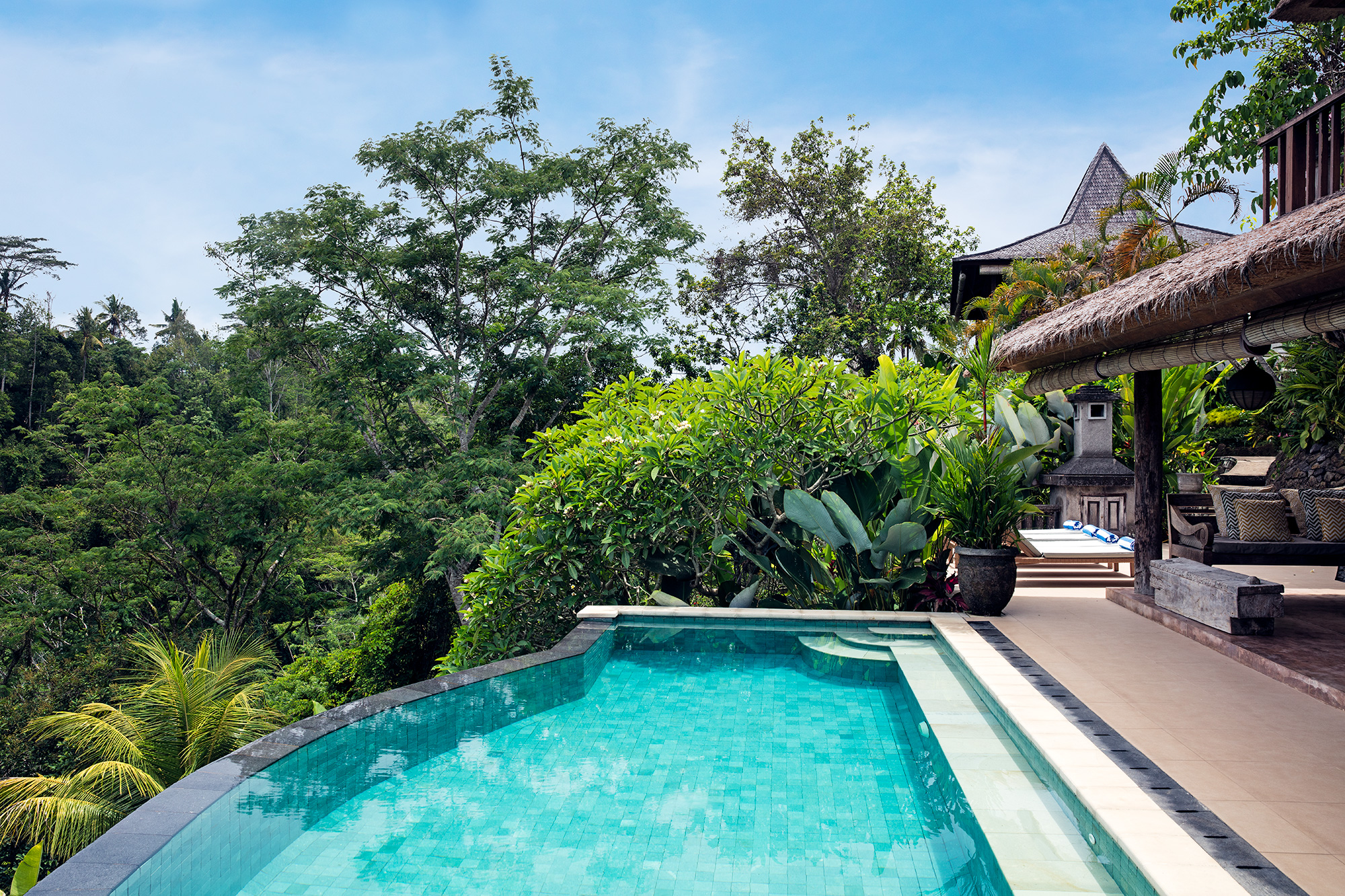 Villa Sagitta, Ubud, Bali, The 10-metre infinity pool with magnificent views of the river valley bel